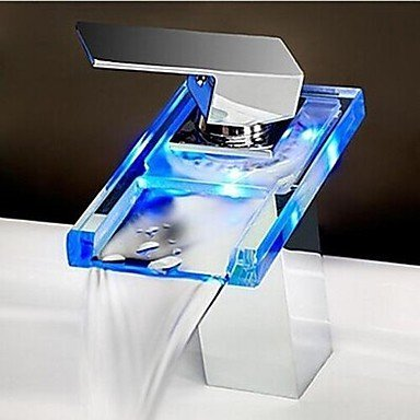XINXI HOME Basin Tap Chrome Finish One Hole One Handle color Changing LED Waterfall Bathroom Sink Faucet Bathroom Faucet Basin Mixer Tap