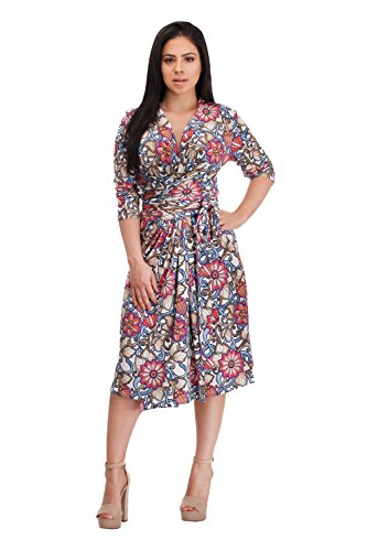 Empire Dress Style - VERLINA Women's Floral Pink Abstract Wrap Dress w/Belted Empire Waist Style MD