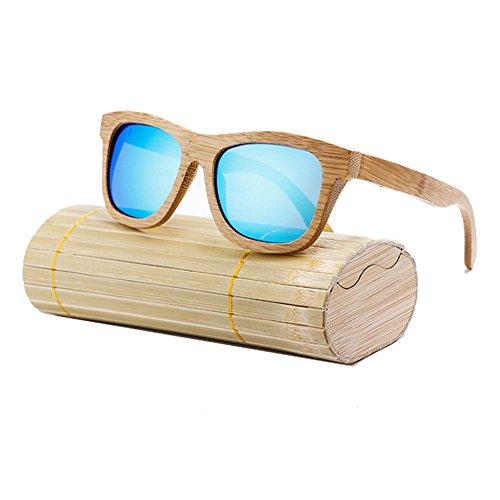 Las Blue de Gafas Hombres de Las Las de Sol de la Sol Madera Gafas los Hombres con Gafas los de de Sol de de Dastrues de Caja bambú Gafas de 5CxUTT