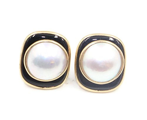 Mabe White Pearl Earrings with Black Onyx and 14k Yellow Gold Post & Push Backs 14k Yellow Gold Mabe Pearl