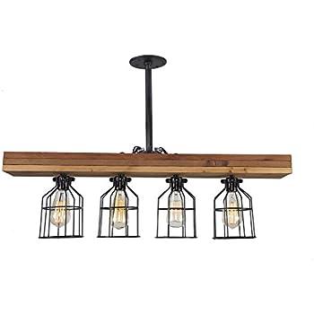 Farmhouse Lighting Triple Wood Beam Vintage Decor