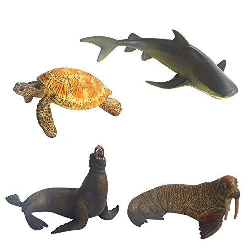Including Sea Lion, Walru, Sea Turtle, Whale Kimkoala 4 Pieces Different Plastic Marine Ocean Animals Creature Figure Set For Boys Girls Kids Sea Animals Toys