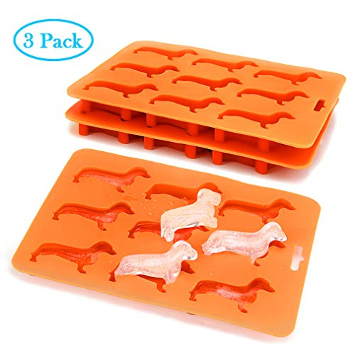 (Dachshund Silicone Ice Cube Trays BPA Free Freezer Tray Non-Stick Stackable Candy Molds Flexible Ice Maker Dog Shape for Ice Cube Chocolate Baby Food Making (3 pack) )