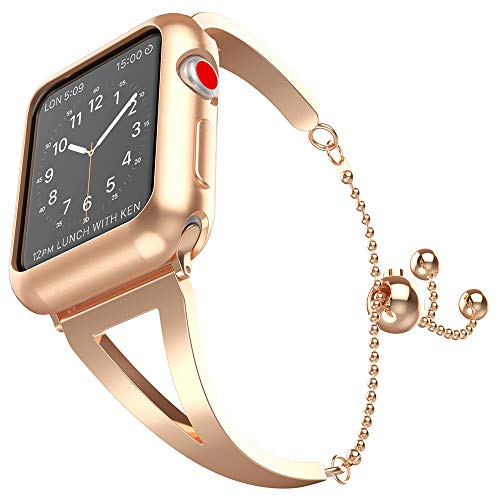 UooMoo Women's Bracelet Compatible with Apple Watch Band 38mm 40mm, Classy Stainless Steel Jewelry Strap Wristband Replacement for Apple iWatch 1/2/3/4 Rosegold