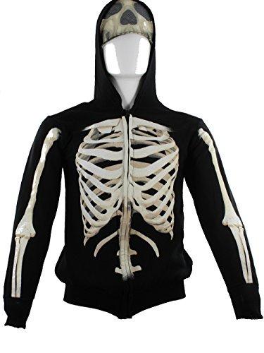 - Extreme Concepts Boys' Hoodies Skeleton Cotton Zip Sweatshirt - XS
