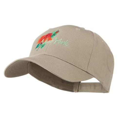 Dakota Womens Cap (USA State Flower New York Rose Embroidery Cap - Khaki OSFM)