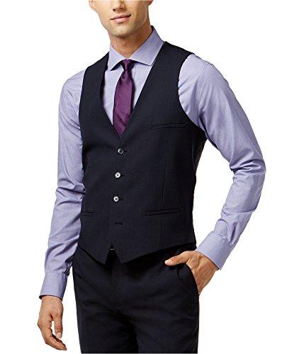 (Bar III Mens Shadow Stripe Wool Suit Vest Navy 36R)