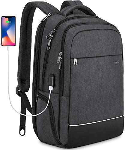 (KUPRINE Business Anti Theft Travel Laptop Backpack for Women Mens Slim 15.6 Inch Large College School Backpack with USB Charging Port, Water Resistant Notebook Computer Backpacks)