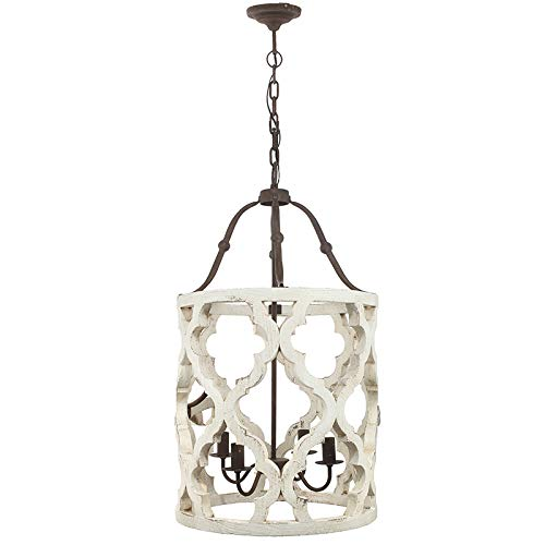 Jiuzhuo Vintage Distressed White Carved Wood 4-Light Lantern Farmhouse Chandelier Lighting Hanging Ceiling Fixture in Rust