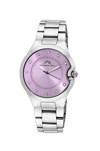 Porsamo Bleu Luxury Emilia Stainless Steel Silver Tone and Lavender Women's Diamond Watch 822BEMS