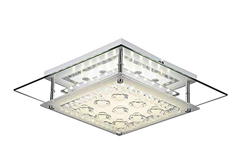 12W Modern Crystal LED Ceiling Light Pendant Flush Lamp Stainless Steel Fixture Lighting Chandelier for Kitchen Dining Room Daylight - Square Tier Chandelier 2 Shades