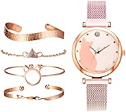 gazechimp 5 Unidades/Conjunto de Relógios Femininos Pulseira de Ouro Rosa Conjunto de Relógios de Pulso com Pa