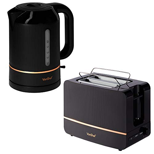 VonShef Kettle and Toaster Set - 2 Slice Toaster with Browning Control and Removable Crumb Tray - 1.5L Kettle with Automatic Switch Off and Removable Filter - Black and Copper