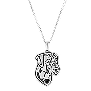 Pashal Boxer Dog Etched Silver Chain Pendant Dog Necklace Dog De Bordeaux, Boxer, Bulldog 1