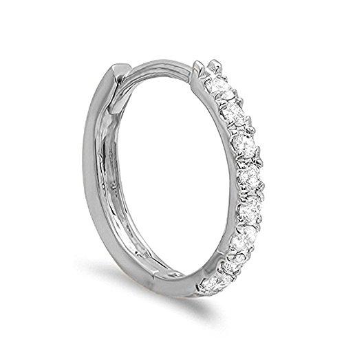 0.11 Carat (ctw) 10K White Gold Real Round Cut White Diamond Ladies Huggies Hoop Earrings 1/4 CT - Huggie Hoop Earrings Diamond