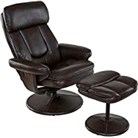 Relaxzen Basic Bonded Leather Recliner with Ottoman, Brown