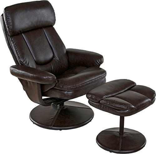 Relaxzen Basic Bonded Leather Recliner with Ottoman, Brown - Leather Recliners Ottoman