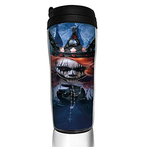 Stainless Steel Insulated Coffee Travel Mug,Art Halloween Evil Face Bizarre Make Up Zombie,Spill Proof Flip Lid Insulated Coffee cup Keeps Hot or Cold 11.8oz(350 ml) Customizable printing -