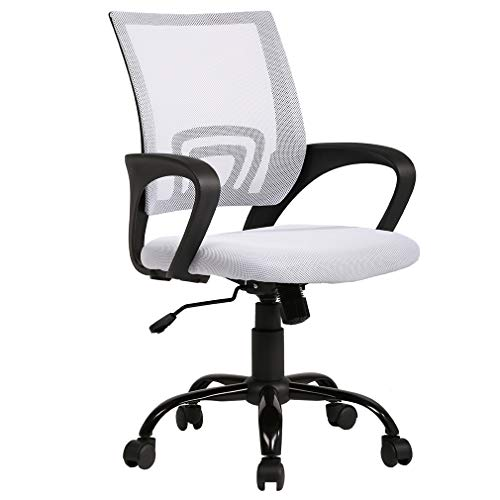 BestOffice Ergonomic Office Mesh Desk Task Computer Lumbar Support Modern Executive Adjustable Rolling Swivel Chair for Back Pain, White