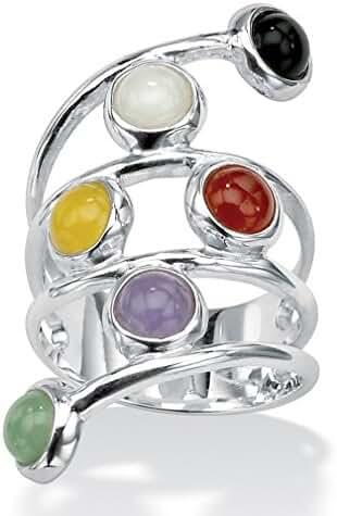 Round Multicolor Genuine Jade Bezel-Set .925 Sterling Silver Wrap Ring