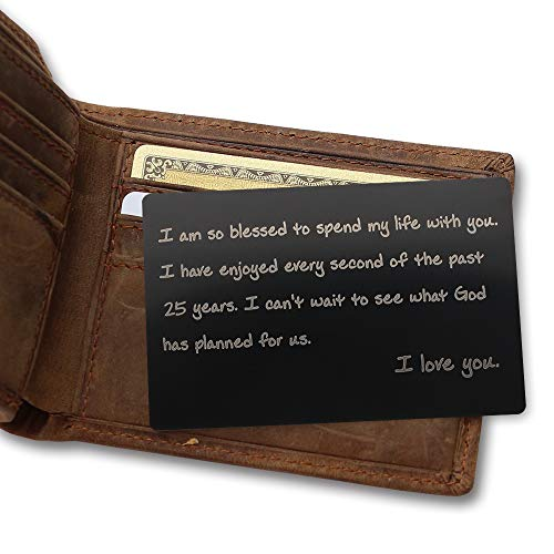 Stainless Steel 25th Anniversary Wallet Insert Gift - I Am So Blessed to Spend My Life with You, I Have Enjoyed Every Second of The Past 25 Years - Engraved 25th Anniversary Gifts for Husband, Wife by Rainmon