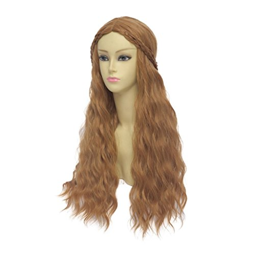 COSPLAZA Game of Thrones Cersei Lannister Brown Long Curly Braid Cosplay Wig Halloween Christmas Party Hair