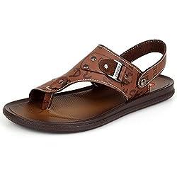 Odema Men's Summer Leather Toe-Ring Flat Beach Sandle