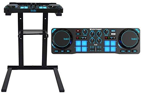 Hercules DJControl Compact USB 2-Deck DJ Controller Mixer+Stand+Shelf+Carry Bag ()