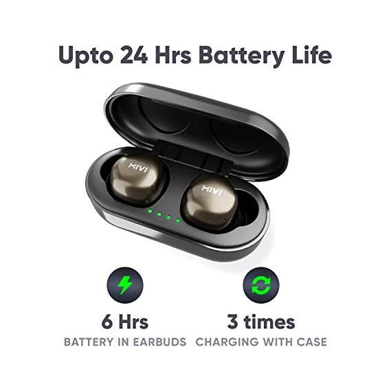 Mivi Duopods M40 True Wireless Bluetooth Earbuds with Studio Sound, Powerful Bass, 24 Hours of Battery and EarPods with Touch Control