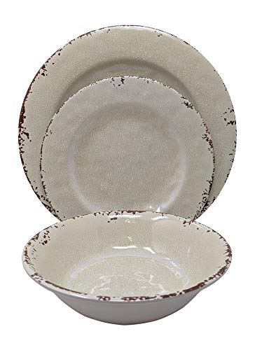 Gianna's Home 12 Piece Rustic Farmhouse Melamine Dinnerware Set, Service for 4 (New Ivory)