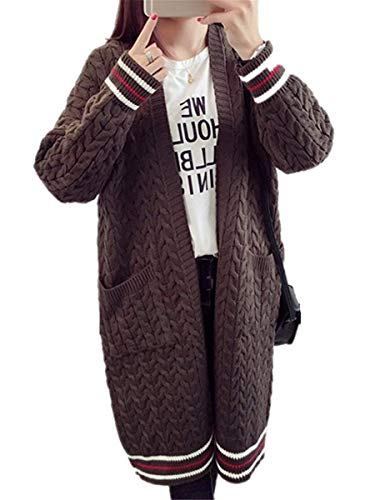 Moda Moda A Manica Lunga Cappotto Cappotto Maglia Giacca Autunno Cardigan Lunga Donna Beverlly Giuntura Tasche Casuale con Outerwear Hipster Strisce Maglia Elegante Comodo Kaffee Cappotto Invernali A w76zw5cZqK