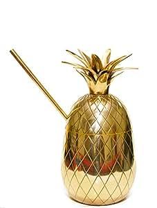 20oz Brass Pineapple Mug, Pineapple Cocktail Mug with Straw by ZyyZ