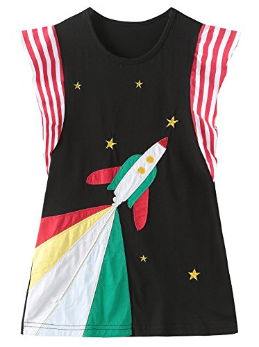 Fiream Girls Cotton Appliqued Dresses Casual Short Sleeves Rocket Dresses(18012,4T/4-5YRS) -