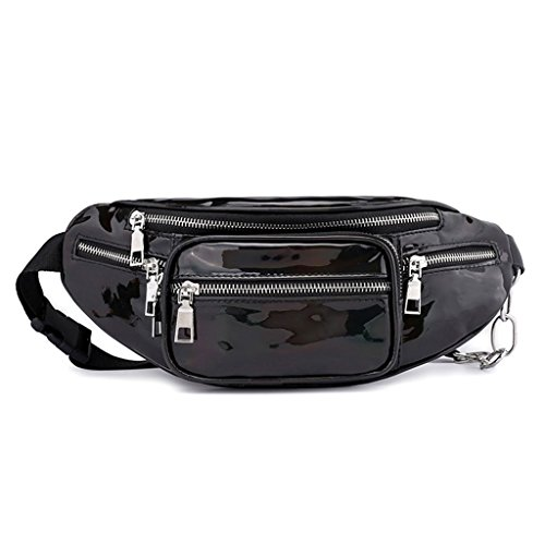 Bag Travel Waist Pack Laser Women's JAGENIE Shoulder Bum Fanny Chest Black Pouch Purse Black Zipper Rxtfqxw
