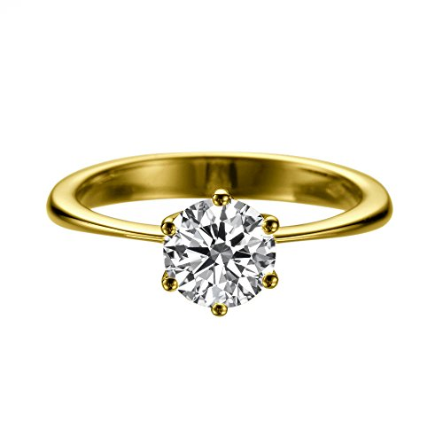 Moissanite Classic Solitaire - 14K Yellow Gold Moissanite Forever Classic 8.00MM (1.51CT Moissanite Weight,1.90CT Diamond Equivalent Weight) Engagement Ring