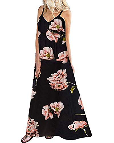 Kidsform Sleeveless Maxi Dresses for Women Bohemian Floral Dress Flowy Dress Halter Long Sundresses Summer Spaghetti Straps V Neck Clothing Casual Loose Party Beach A-Floral XBlack Large