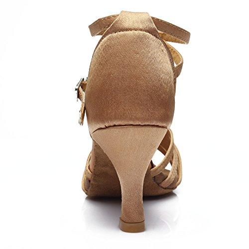 Hroyl Zapatillas Para Danza Latina, Para Mujer, Satin Ballroom Model-213 Beige2
