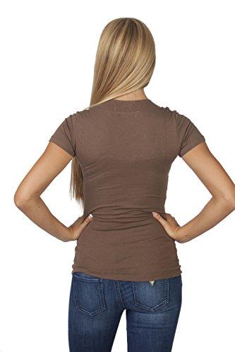 Hollywood Star Fashion - Camiseta de manga corta con cuello en V Chocolate