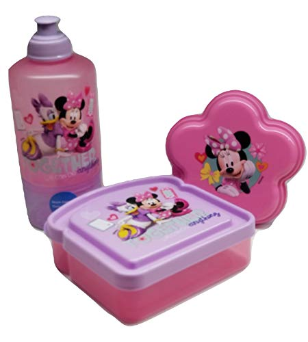 Minnie Mouse & Daisy Duck BPA Free 1 Snack Water Bottle, 1 Sandwich Box, 1 Snack Container by Zak Designs Bundle Set