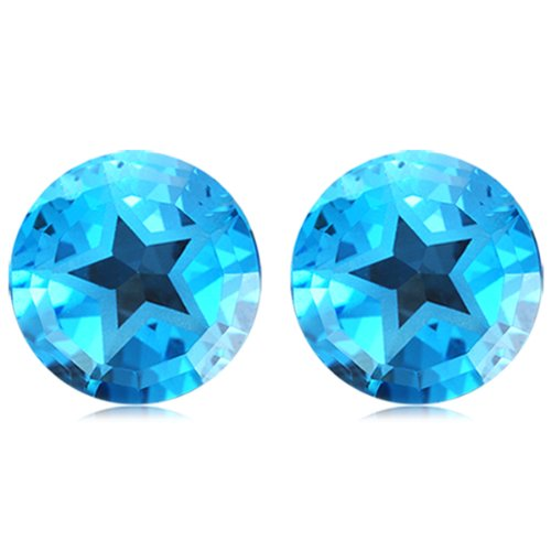 Mysticdrop 9.5-10.71 Cts of 10 mm Texas Star AAA Matching Loose Swiss Blue Topaz (2 pcs) Gemstones by Mysticdrop (Image #2)