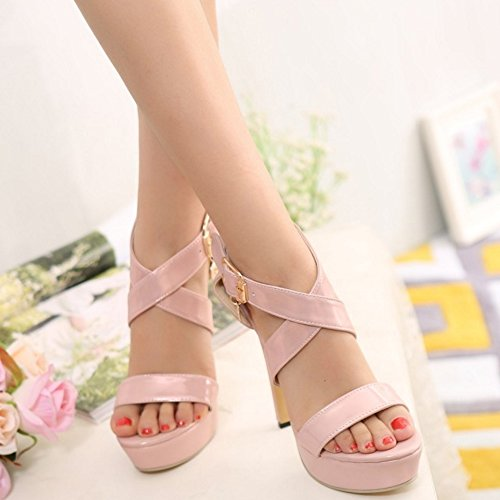 TAOFFEN Women Fashion Open Toe Criss-Cross Strap High Heel Sandals Elegant Stiletto Shoes Pink KJ9vdJ