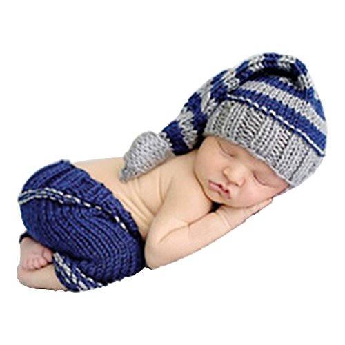 - SUNBABY Newborn Baby Handmade Crochet Knitting Costume Infant Photo Photography Prop Hats Pants Suit (Long Tail Hat Suit)