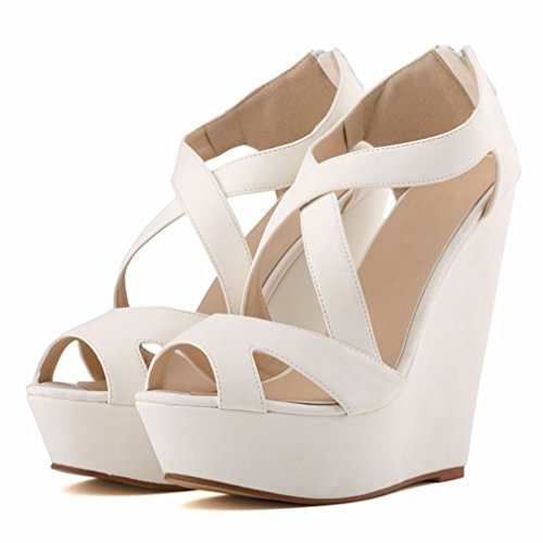 HooH Damen High Heel Wedge Plattform Sandalen Ankle Strap Pumps Weiß-1