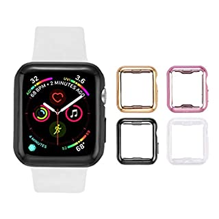 Tranesca 4 Pack Apple Watch case with Built-in HD Clear Ultra-Thin TPU Screen Protector Cover for Apple Watch Series 2 and Apple Watch Series 3 38mm - 4 Pack (Clear+Black+Gold+Rose Gold)