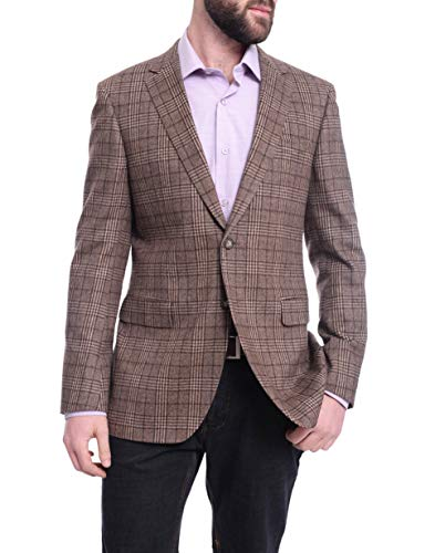 Napoli Slim Fit Brown Plaid Half Canvassed Flannel Wool Cashmere Blend Sportcoat