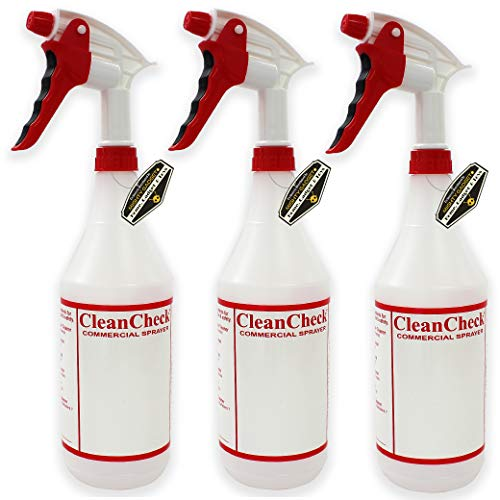 Mighty Gadget 3 Pack Professional Large Spray Output 3.5 ml Trigger Sprayer with 32 oz Empty Chemical Resistant Spray Bottles - No Clogs, No Leaks Sprayers