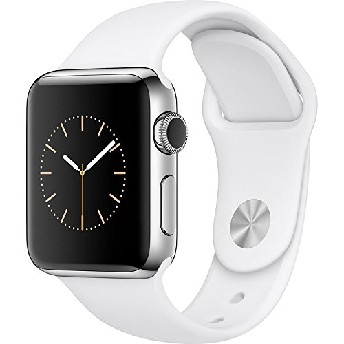 Apple Watch 38mm Stainless Steel Case with White Sport Band - 4