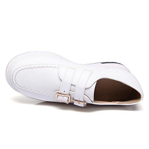 FANIMILA Mujer Moda Flatform Bombas Zapatos Chicas Colegio Planos Zapatos blanco