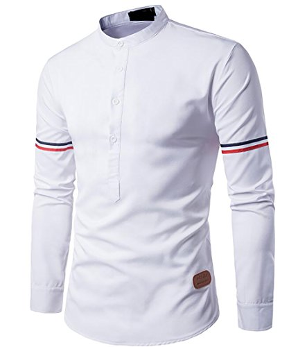 Zago Mens Retro Stand Collar Long Sleeve Slim Fit Henley t Shirt White L