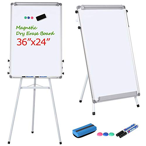 Yaheetech Portable Dry Erase Easel Magnetic White Board Dry Erase Board Tripod Whiteboard Flipchart Easel Height Adjustable for Office/Home/School w/1 Eraser,2 Dry Erase Makers,3 Magnets(36x24 inches)